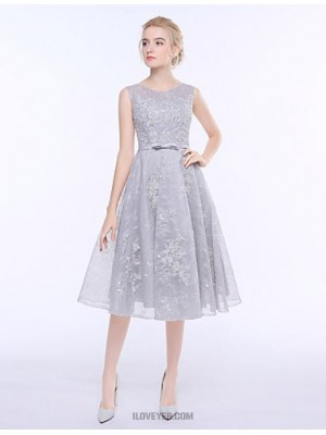 A Line Jewel Neck Tea Length Tulle Bridesmaid Dress with Lace