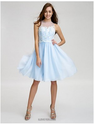 A Line Jewel Neck Knee Length Chiffon Tulle Bridesmaid Dress with Buttons Lace