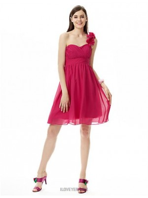 A Line Princess Sexy One Shoulder Sweetheart Knee Length Chiffon Bridesmaid Dress with Draping Flower Criss Cross