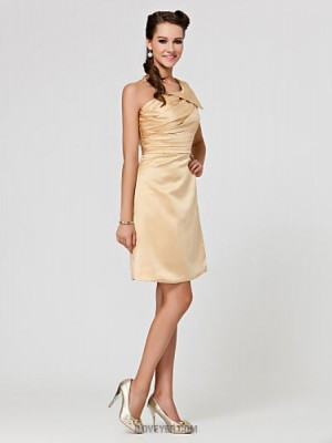 A Line Princess Sexy One Shoulder Knee Length Satin Bridesmaid Dress with Side Draping