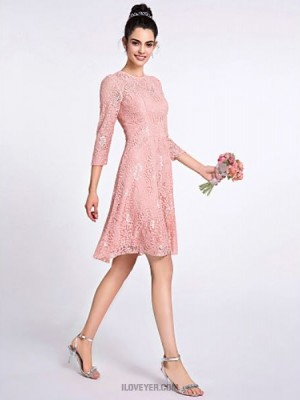 A Line Jewel Neck Knee Length Lace Bridesmaid Dress with Lace
