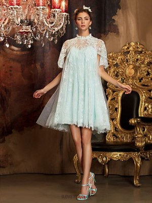 A Line High Neck Knee Length Lace Tulle Bridesmaid Dress with Lace Sash Ribbon Pleats Ruffles