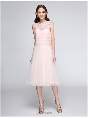 A Line Jewel Neck Tea Length Lace Tulle Bridesmaid Dress with Lace