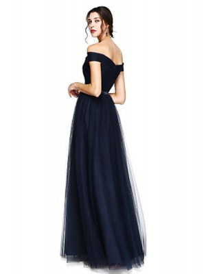 A Line Off the shoulder Floor Length Satin Tulle Bridesmaid Dress with Sash Ribbon Criss Cross