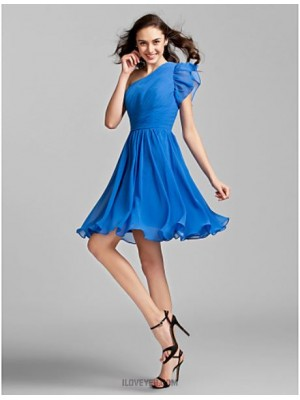 A Line Princess Sexy One Shoulder Knee Length Georgette Bridesmaid Dress with Side Draping Ruching