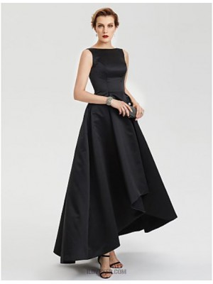 A Line Boat Neck Asymmetrical Satin Evening Party Australia Formal Dress with Pleats