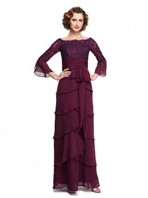 A Line Bateau Neck Ankle Length Chiffon Lace Mother of the Bride Dress with Appliques Sash Ribbon Sequins Pleats