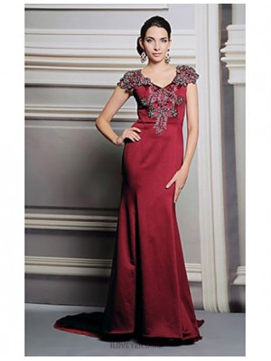 Australia Formal Evening Dress Vintage Inspired Trumpet Mermaid V neck Long Floor length Satin with Lace Pleats