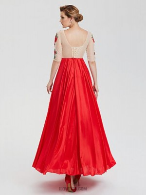 A Line Boat Neck Floor Length Stretch Yarn Lace Tulle Evening Party Australia Formal Dress with Appliques