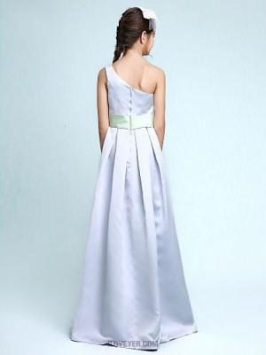 A Line Princess Sexy One Shoulder Floor Length Satin Junior Bridesmaid Dress with Draping Flower Sash Ribbon