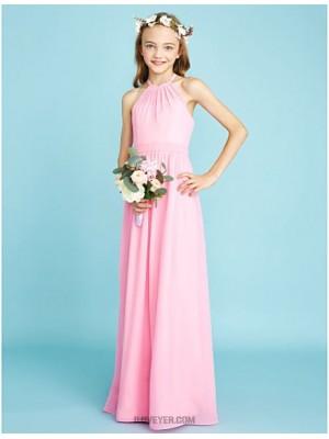 A Line Halter Floor Length Chiffon Junior Bridesmaid Dress with Sash Ribbon
