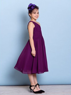 A Line Sexy One Shoulder Tea Length Chiffon Junior Bridesmaid Dress with Side Draping Criss Cross