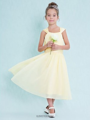 A Line Square Neck Tea Length Chiffon Junior Bridesmaid Dress with Draping Ruching