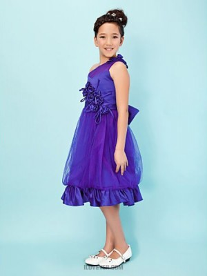 A Line Princess Sexy One Shoulder Knee Length Satin Tulle Junior Bridesmaid Dress with Bow Flower Ruffles
