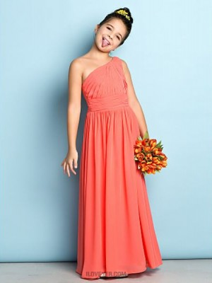 A Line Sexy One Shoulder Ankle Length Chiffon Junior Bridesmaid Dress with Side Draping