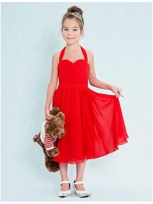 A Line Halter Tea Length Chiffon Junior Bridesmaid Dress with Criss Cross Ruching