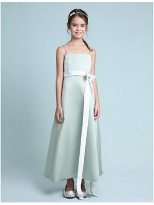 A Line Princess Spaghetti Straps Tea Length Stretch Satin Junior Bridesmaid Dress with Bow Sash Ribbon
