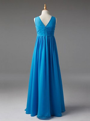 A Line Boat Neck Floor Length Chiffon Junior Bridesmaid Dress with Sash Ribbon Ruching Pleats