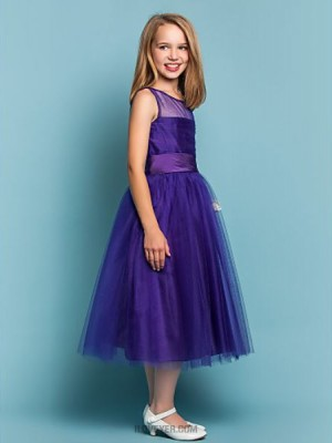 A line Princess Jewel Tea length Tulle Junior Bridesmaid Dress with Ruching
