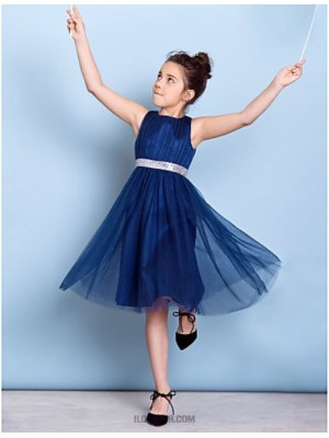 A Line Jewel Neck Knee Length Tulle Junior Bridesmaid Dress with Draping Sash Ribbon Sequins