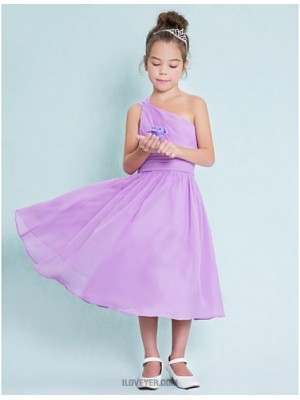 A Line Sexy One Shoulder Tea Length Chiffon Junior Bridesmaid Dress with Side Draping