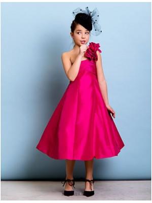A Line Princess Sexy One Shoulder Tea Length Taffeta Junior Bridesmaid Dress with Flower Criss Cross