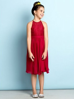 A Line Jewel Neck Knee Length Chiffon Lace Junior Bridesmaid Dress with Lace