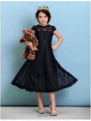 A Line Princess Jewel Neck Tea Length Lace Junior Bridesmaid Dress with Pleats