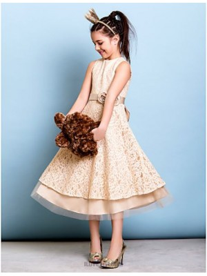 A Line Jewel Neck Tea Length Lace Junior Bridesmaid Dress with Bow Flower Sash Ribbon