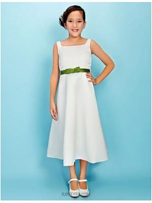 A Line Princess Square Neck Tea Length Satin Junior Bridesmaid Dress with Bow Sash Ribbon