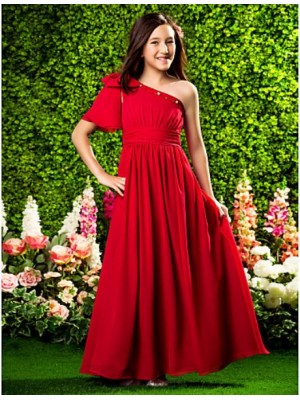 A Line Princess Sexy One Shoulder Floor Length Chiffon Junior Bridesmaid Dress with Beading Bow Draping Ruching