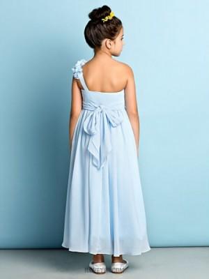 A Line Sexy One Shoulder Asymmetrical Chiffon Junior Bridesmaid Dress with Flower Criss Cross