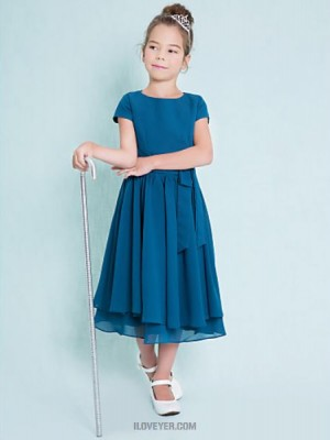 A Line Jewel Neck Tea Length Chiffon Junior Bridesmaid Dress with Buttons