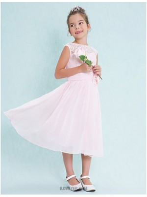A Line Scoop Neck Tea Length Chiffon Lace Junior Bridesmaid Dress with Flower Lace