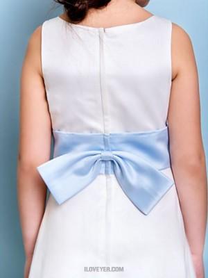 A Line Jewel Neck Floor Length Satin Tulle Junior Bridesmaid Dress with Bow Sash Ribbon