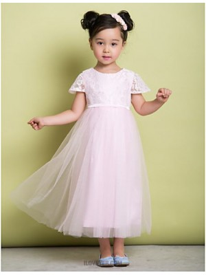 A Line Ankle Length Flower Girl Dress Lace Tulle Short Sleeves Jewel Neck with Lace