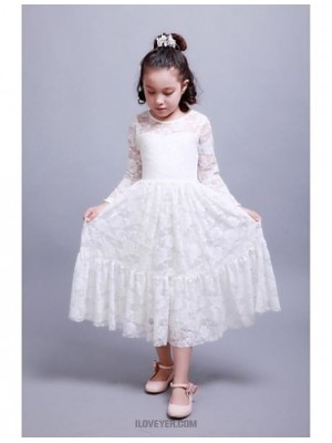 A Line Ankle Length Flower Girl Dress Cotton Long Sleeves Jewel Neck with Lace Pleats