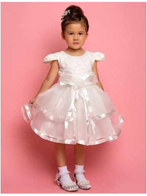 A Line Ankle Length Flower Girl Dress Chiffon Lace Satin Tulle Short Sleeves Jewel Neck with Beading