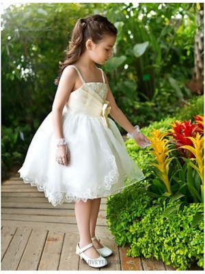 A Line Ankle Length Flower Girl Dress Chiffon Tulle Sleeveless Straps with Sequin