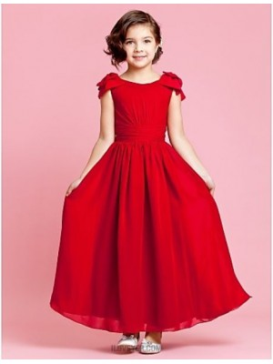 A Line Ankle Length Flower Girl Dress Chiffon Sleeveless Jewel Neck
