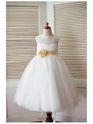 A Line Ankle Length Flower Girl Dress Lace Tulle Sleeveless Jewel Neck with Flower