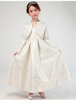 A Line Ankle Length Flower Girl Dress Cotton Satin Long Sleeves Queen Anne with Pleats
