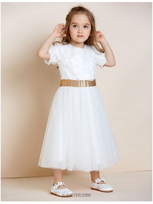 A Line Ankle Length Flower Girl Dress Organza Satin Tulle Sleeveless Jewel Neck with Applique