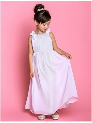 A Line Ankle Length Flower Girl Dress Chiffon Sleeveless Scoop Neck with Draping