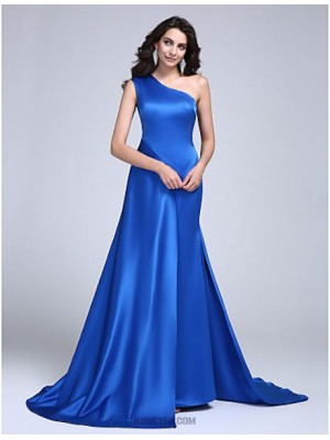 A Line Sexy One Shoulder Court Train Satin Australia Formal Evening Dress with Pleats
