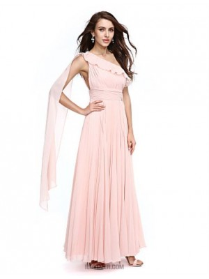 A Line Sexy One Shoulder Watteau Train Chiffon Prom Australia Formal Evening Dress with Sash Ribbon Side Draping Ruching