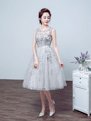 Ball Gown Jewel Neck Tea Length Lace Tulle Prom Dress with Beading