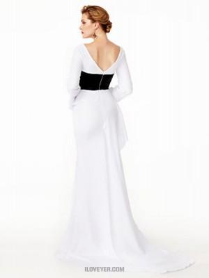 Mermaid Trumpet V neck Sweep Brush Train Chiffon Velvet Australia Formal Evening Dress with Pleats