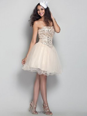 A Line Strapless Short Mini Tulle Prom Dress with Crystal