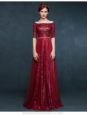A Line Bateau Neck Floor Length Tulle Sequined Prom Australia Formal Evening Dress with Sequins